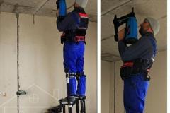 Пристрелка клипс для протяжки кабеля по потолку в гофре