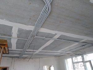 Разводка электрических линий по потолку