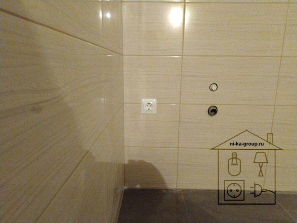 Установка розетки в ванной, санузле