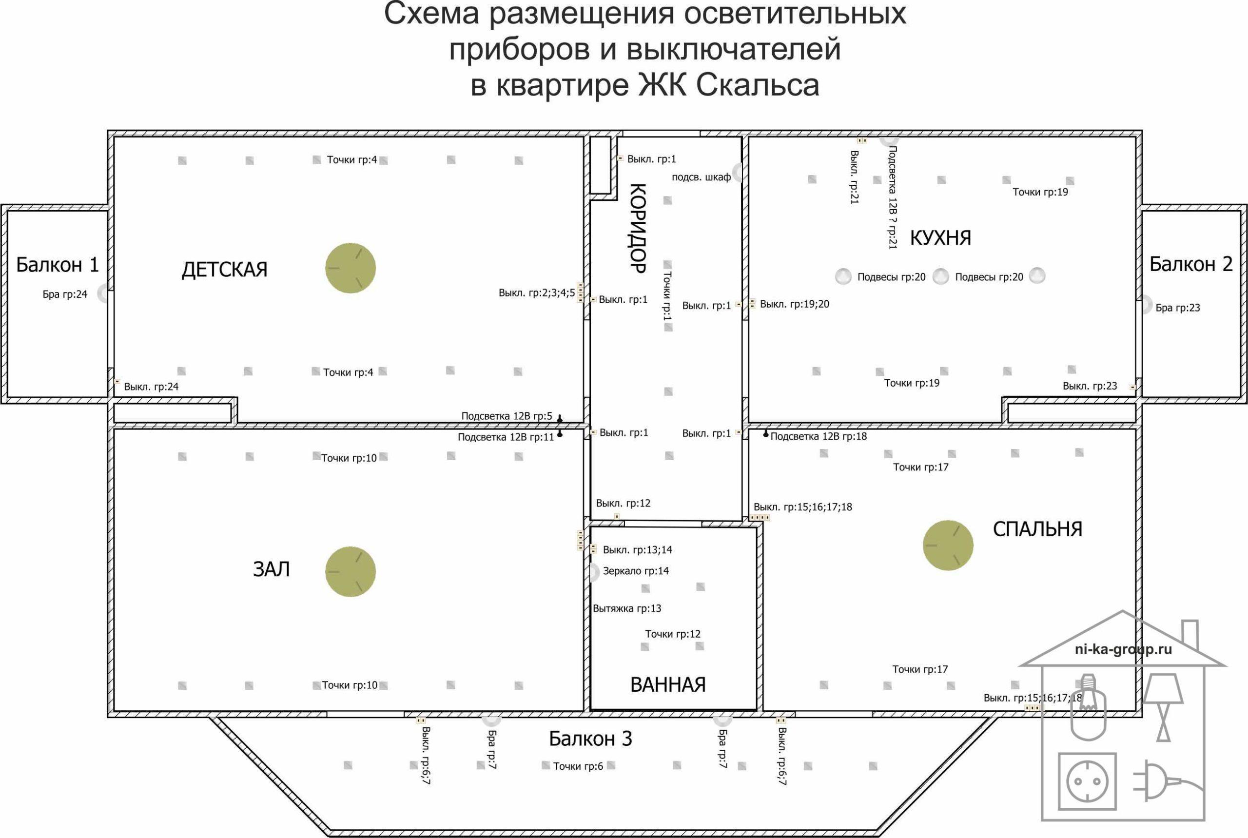 Электрическая схема в трехкомнатной квартире ЖК Скальса