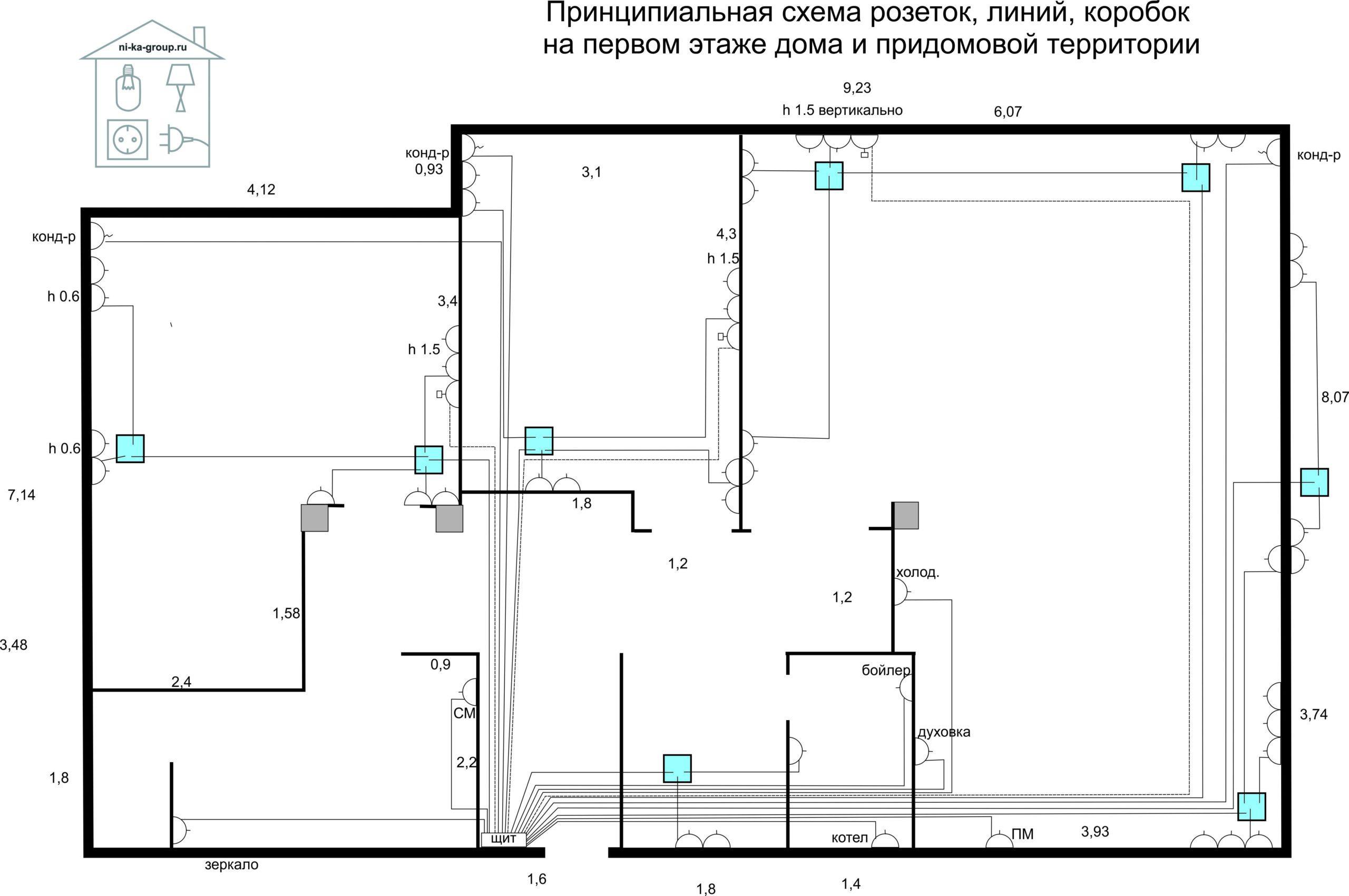 Принципиальная схема розеток, распаячных коробок, электрических линий в доме