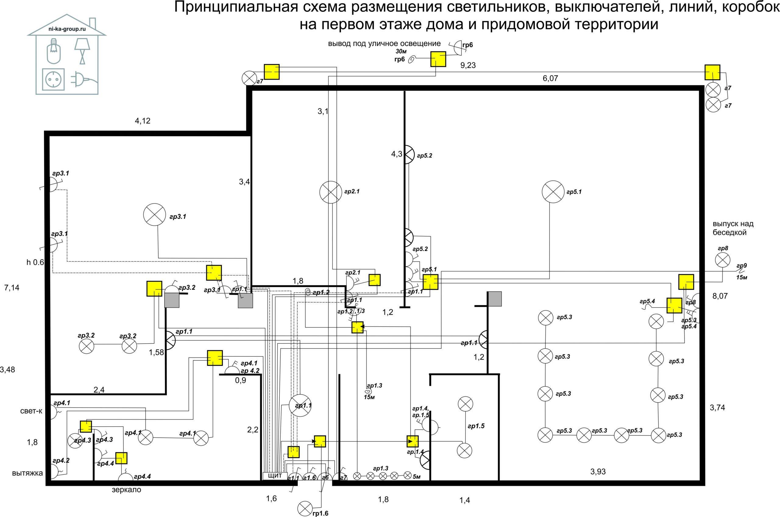 Принципиальная схема выключателей, светильников, коробок, электрических линий в доме