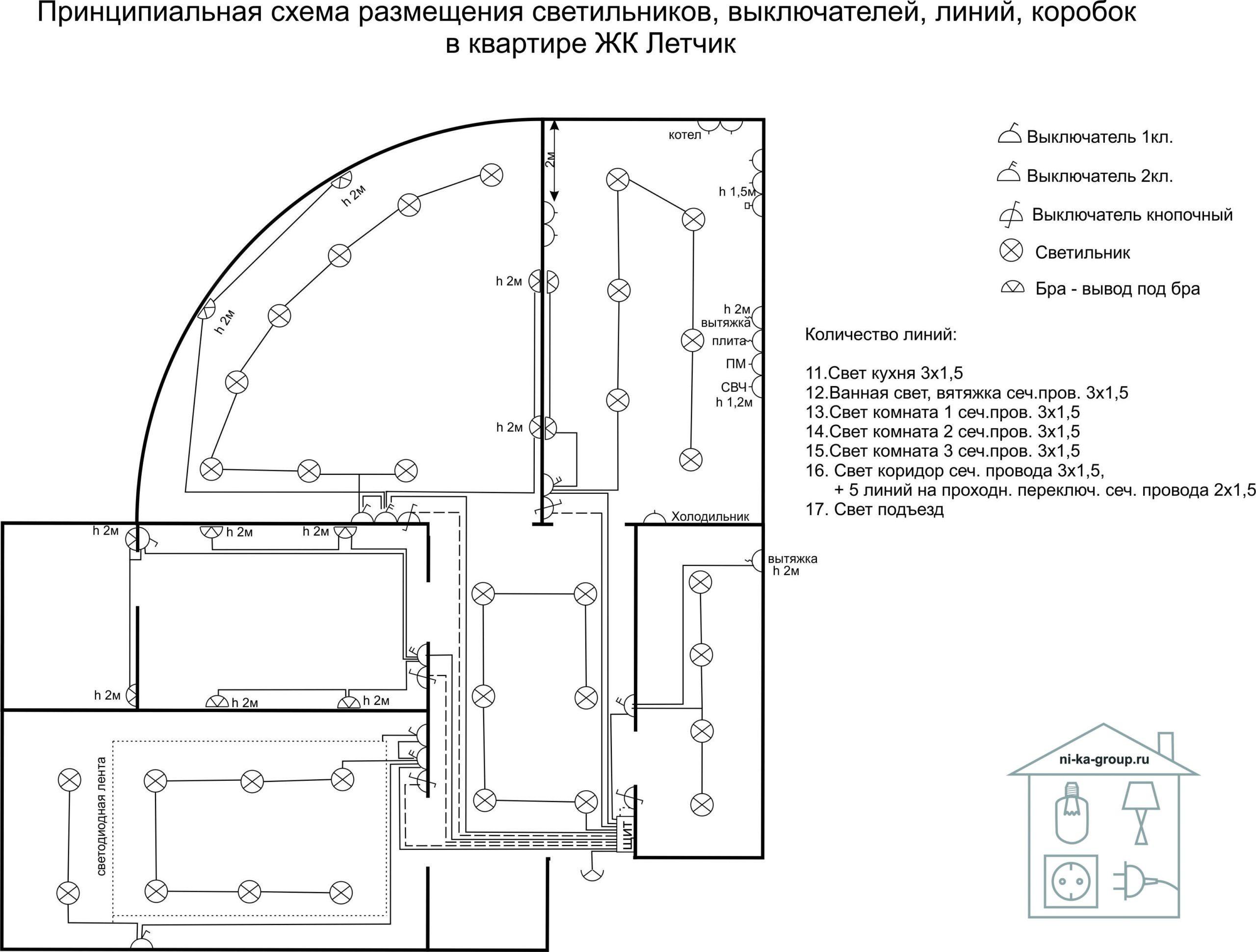 Электрическая схема размещения и подключения линий, светильников, выключателей в квартире ЖК Летчик