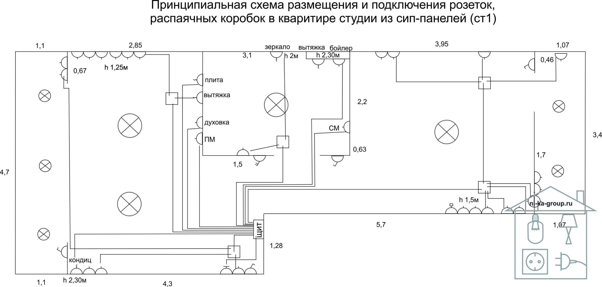Электрическая схема подключения линий розеток в квартире студии