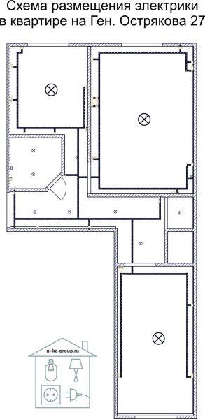Схема размещения электроточек в квартире на ген. Острякова